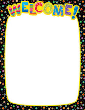 Dots on Black Welcome Classroom Essentials Chart