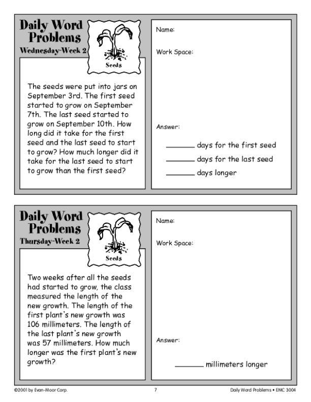 Daily Word Problems, Grade 4