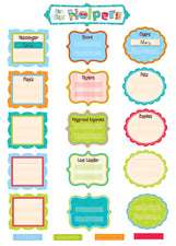 Our Class Helpers Dots On Turquoise Mini Bulletin Board Set
