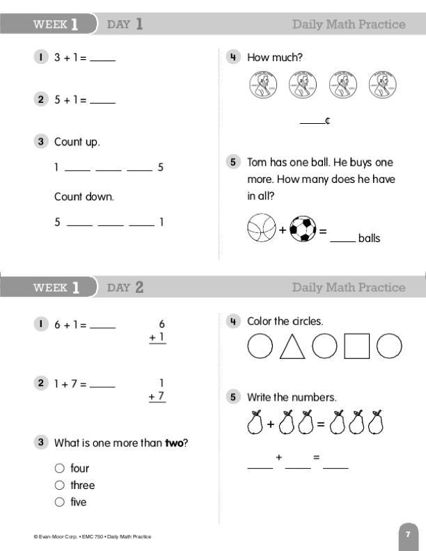 Daily Math Practice, Grade 1
