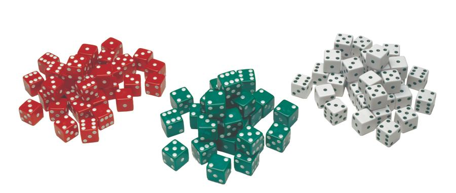 Red, Green & White Dot Dice, Set of 36
