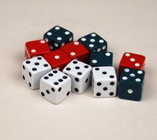Red, Green & White Dot Dice, Set of 12