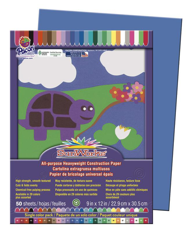 "SunWorks® Construction Paper, 9"" x 12"" Blue"