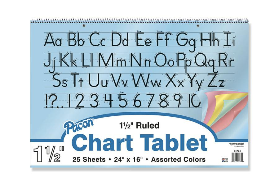 "Colored Paper Chart Tablets, 24"" x 16"", Ruled 1 1/2"""