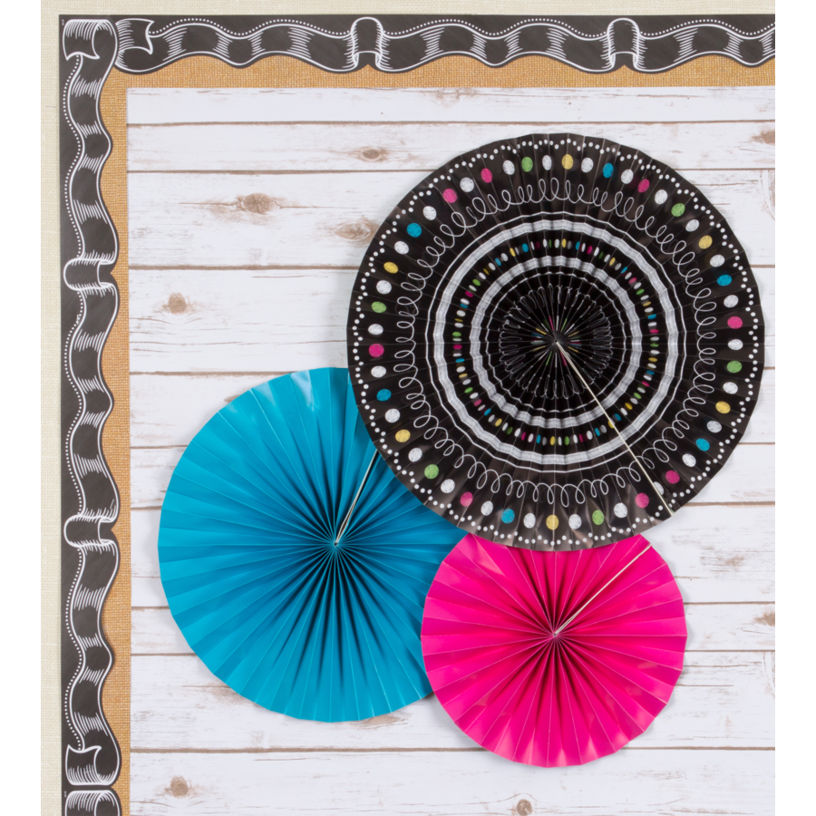 Chalkboard Brights Hanging Paper Fans