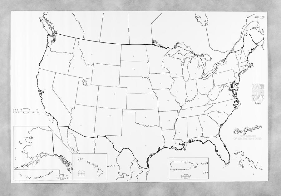 Pacon Learning Walls United States Map 48 X 72 Pac78760 Supplyme