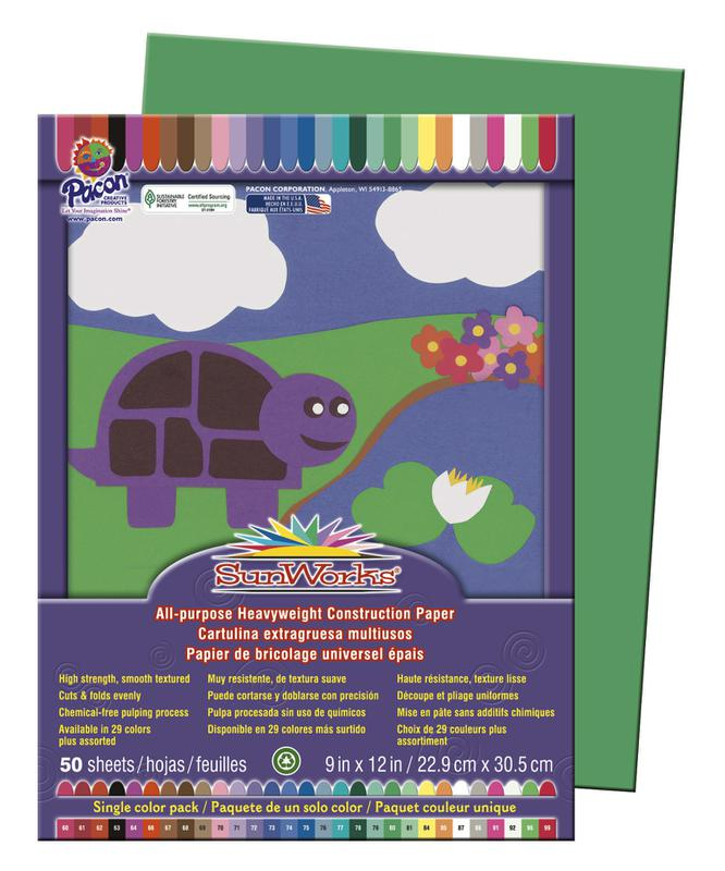 "SunWorks® Construction Paper, 9"" x 12"" Holiday Green"
