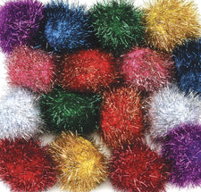 Glitter Poms - 40 Pieces - 1""