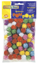Glitter Poms - 80 Pieces - 1/2""