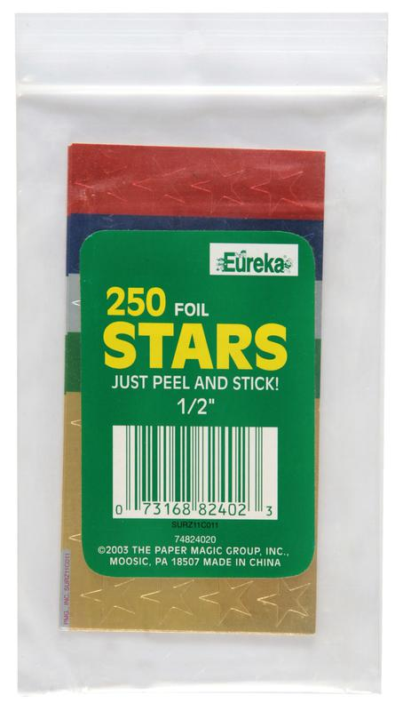 Assorted 1/2 Inch Foil Stars Stickers, 250/Pk