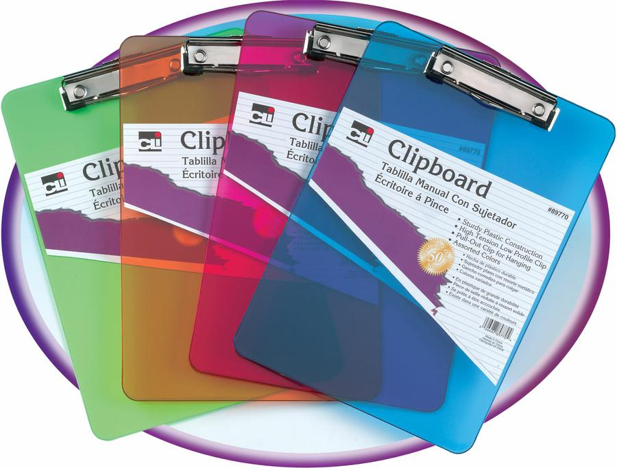 Plastic Clipboard, Assorted Neon, 1 Per Pack