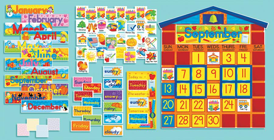 All-In-One Schoolhouse Calendar Bulletin Board Set
