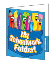 Pocket Folder My Schoolwork Folder 8-1/2 x 11 Plastic-Coated