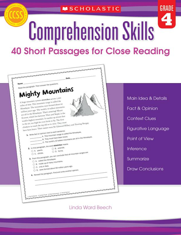Comprehension Skills: 40 Short Passages for Close Reading: Grade 4