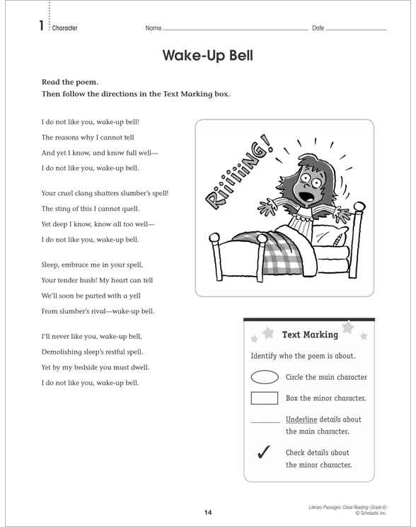 Literary Passages Close Reading Gr6   NTS579389
