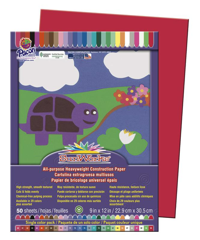 "SunWorks® Construction Paper, 9"" x 12"" Holiday Red"