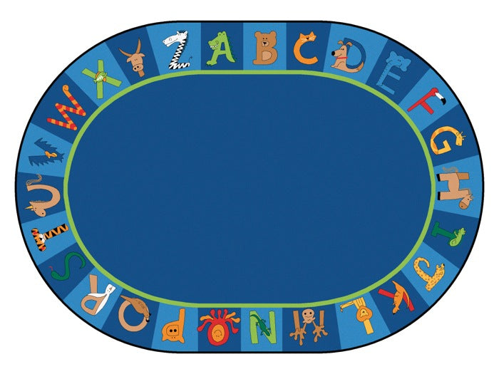 "A to Z Animals Alphabet Circle Time Classroom Rug, 6'9"" x 9'5"" Oval"