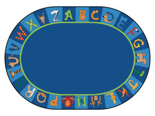"A to Z Animals Alphabet Circle Time Classroom Rug, 8'3"" x 11'8"" Oval"