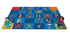 "A to Z Animals Alphabet Circle Time Classroom Rug, 8'4"" x 13'4"" Rectangle"