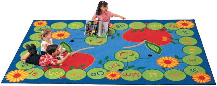 "ABC Caterpillar Alphabet Classroom Rug, 4'5"" x 5'10"" Rectangle"