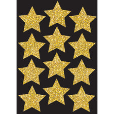 "Die Cut Magnets, 3"" Gold Sparkle Stars"