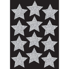 "Die Cut Magnets, 3"" Silver Sparkle Stars"