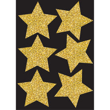 "Die Cut Magnets, 4"" Gold Sparkle Stars"