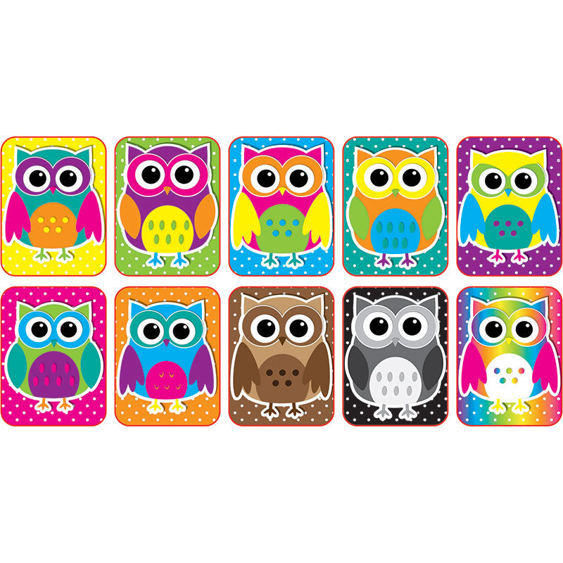 Color Owls Mini Whiteboard Erasers, 10 Pack
