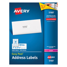 Avery Easy Peel White Address Labels 1 x 2 5/8, 3000 Count