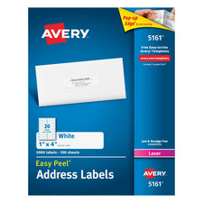 Avery Easy Peel 1 x 4 White Mailing Labels 2000 Count