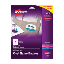 Avery® White Oval Adhesive Name Badges