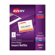 "Avery® Name Badge Inserts, 3"" x 4"", Box of 300"