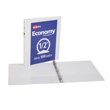 "Avery® Economy View Binder with 1/2"" Round Ring, White"