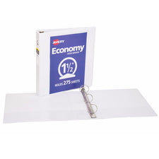 "Avery® Economy View Binder with 1-1/2"" Round Ring, White"
