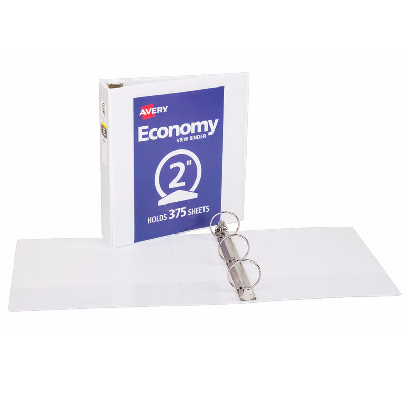 "Avery® Economy View Binder with 2"" Round Ring, White"