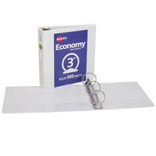 "Avery® Economy View Binder with 3"" Round Ring, White"