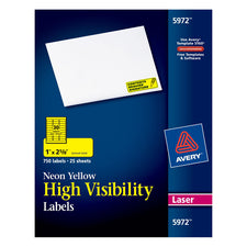 "Avery® Neon Yellow High-Visibility Labels for Laser Printers, 1"" x 2-5/8"", Pack of 750"