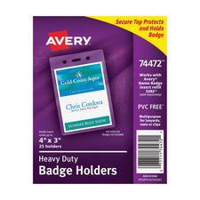 Avery® Heavy-Duty Badge Holders, Pack of 25 (Portrait)