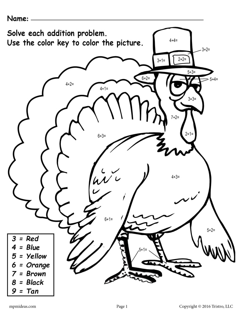 free color the turkey addition color by number worksheets supplyme. Black Bedroom Furniture Sets. Home Design Ideas