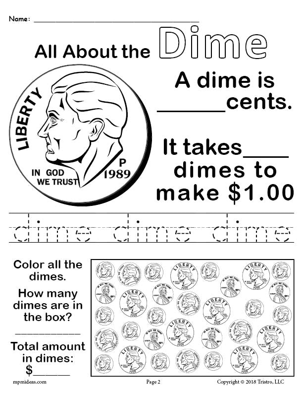 All About Dimes - Printable Dime Worksheet