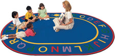 "Alphabet Classroom Circle Time Rug, 8'3"" x 11'8"" Oval"