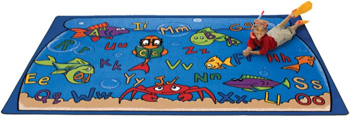 "Alphabet Aquarium Classroom Carpet, 4'5"" x 5'10"" Rectangle"