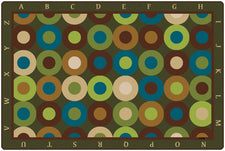 Calming Circles Alphabet Classroom Circle Time Rug, 6' x 9' Rectangle