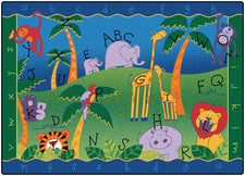 "Alphabet Jungle Classroom Rug, 4'5"" x 5'10"" Rectangle"