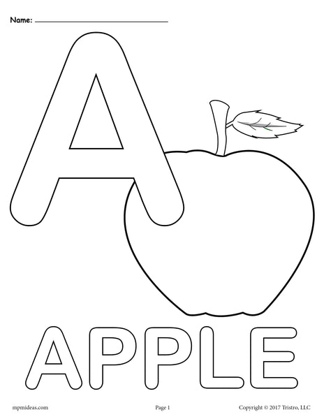 Letter A Alphabet Coloring Pages - 3 FREE Printable ...