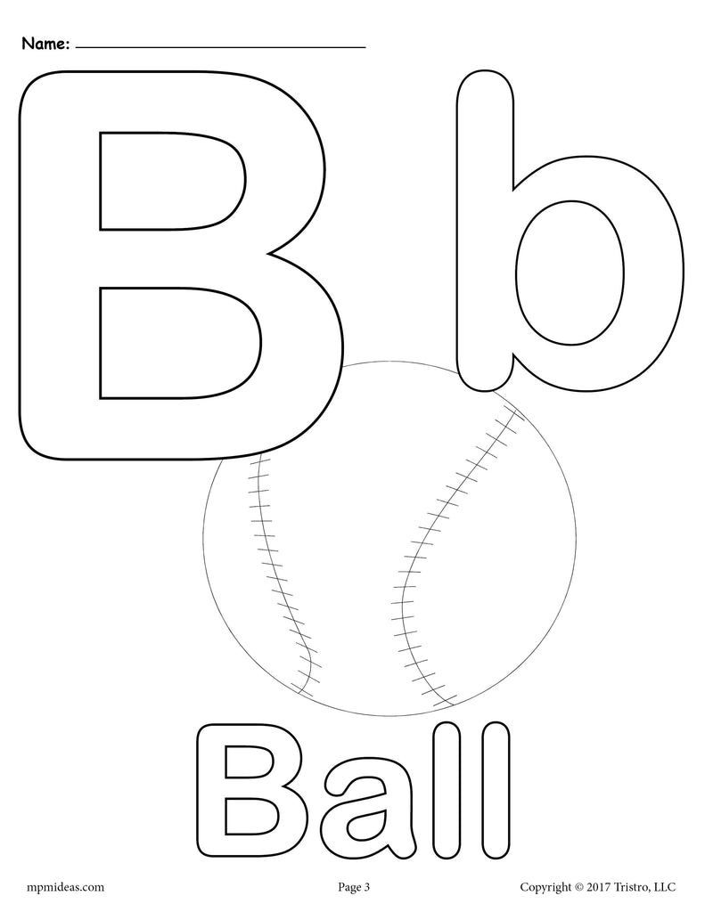 Letter B Alphabet Coloring Pages - 3 FREE Printable ...