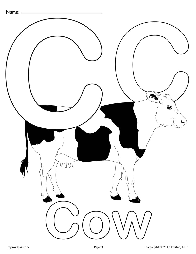 Letter C Alphabet Coloring Pages 3 FREE Printable