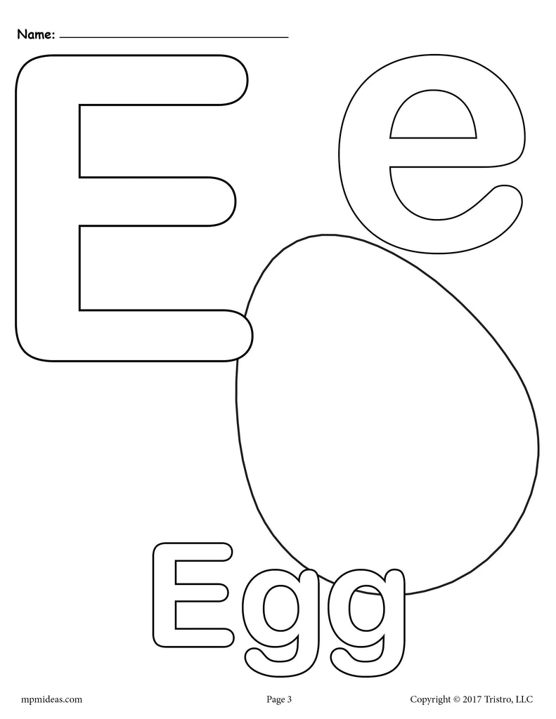Letter e alphabet coloring pages 3 free printable versions