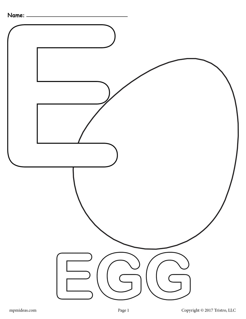 Letter E Alphabet Coloring Pages - 3 Printable Versions!
