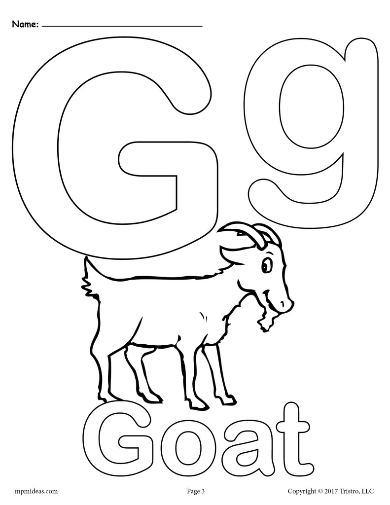 Letter G Alphabet Coloring Pages